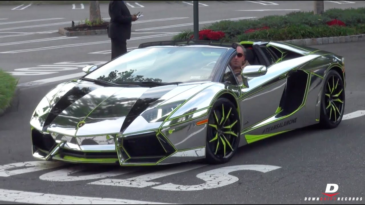 Chrome Lamborghini Aventador Roadster Start Up Sound Youtube