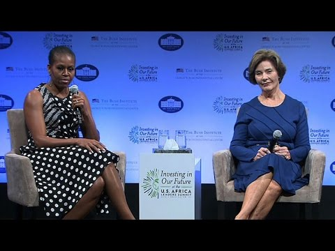 Laura Bush and Michelle Obama talk spotlight and criticism