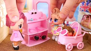 LOL Surprise Dolls + Lil Sisters Treasure Pearl Ride Bus to find Baby Strollers