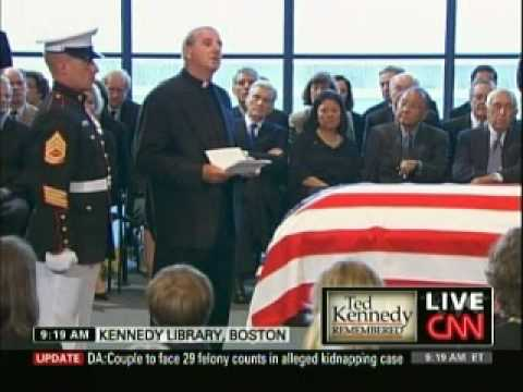 On the day of Sen. Edward Kennedy's final rest, Father Gerry Creedon leads family and friends at the JFK Presidential Library in prayer. Kennedy will be laid...