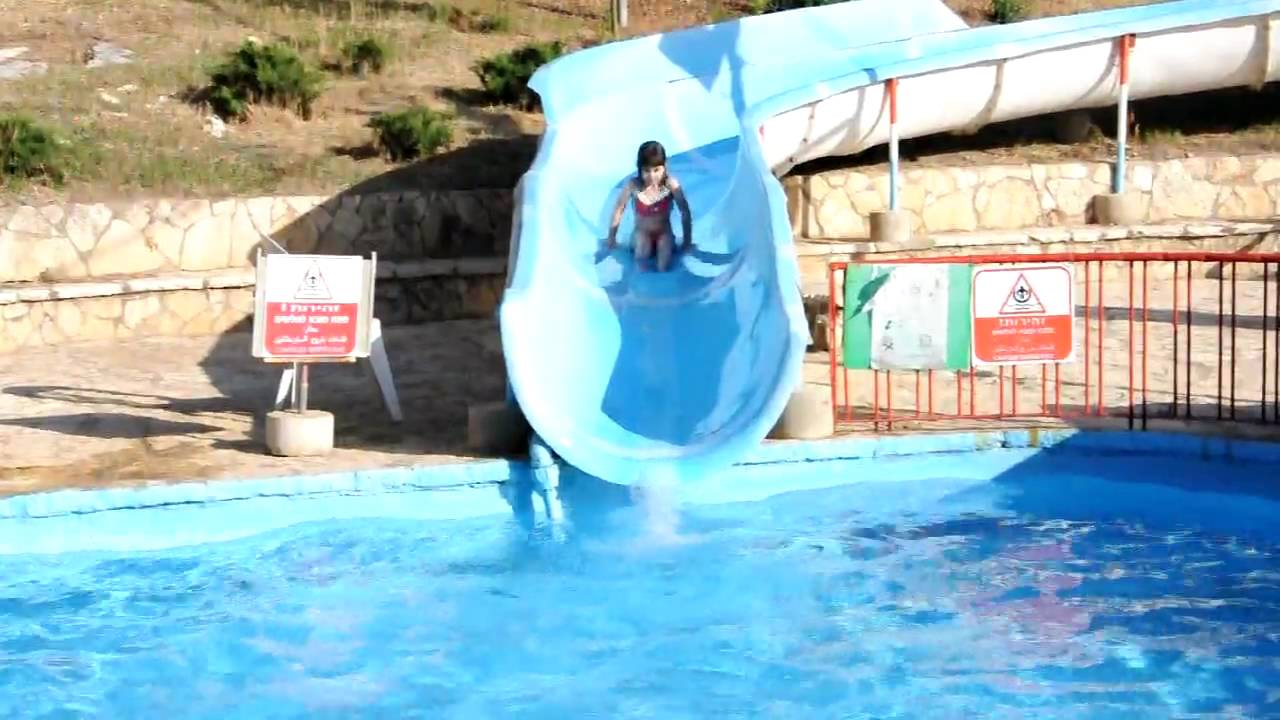Water Slide In The Swimming Pool Of Kibutz Dalia Youtube