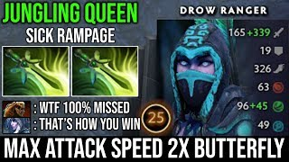 WTF Max ATK Speed Drow Ranger Ez Rampage with 2X Butterfly Counter Lifestealer - BEST JUNGLING HERO