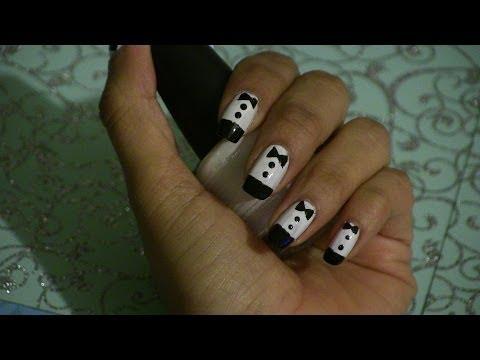 Diseños de uñas esmoquin o tuxedo