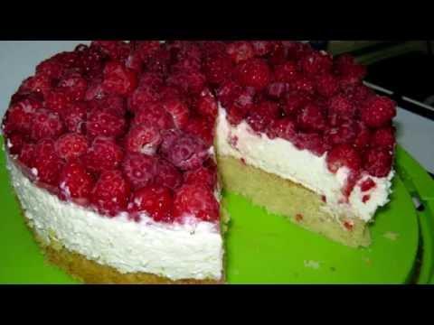 Сливочно- творожный торт с малиной