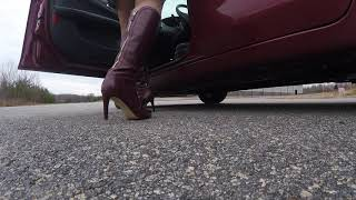getting in and out of the car in wine color boots