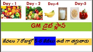GM Diet Plan || Healthy Meal Plan to Lose Weight Just in 7 Days in Telugu|| Lose 5-7 kgs fast..