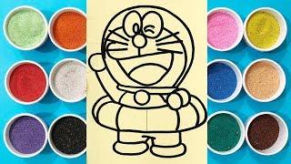Chị Chim Xinh TÔ MÀU TRANH CÁT ĐÔRAÊMON TẮM BIỂN - Đồ chơi trẻ em - Colored Sand Painting toys