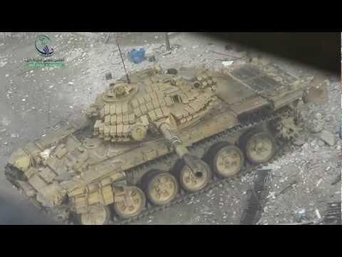 داريا 16-1-2013 دبابات الأسد بجانب المصور ومحاولة استهدافه