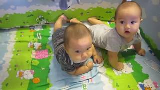 Funny Twins Baby Playing Together | Cute Twins In The Crib | MonKi Twin