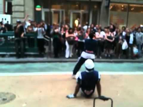 Dance group break dancing in NYC