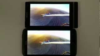 Sony XPERIA S vs HTC One X, BRAVIA vs super LCD 2 quality comparison, screens 100% brightness