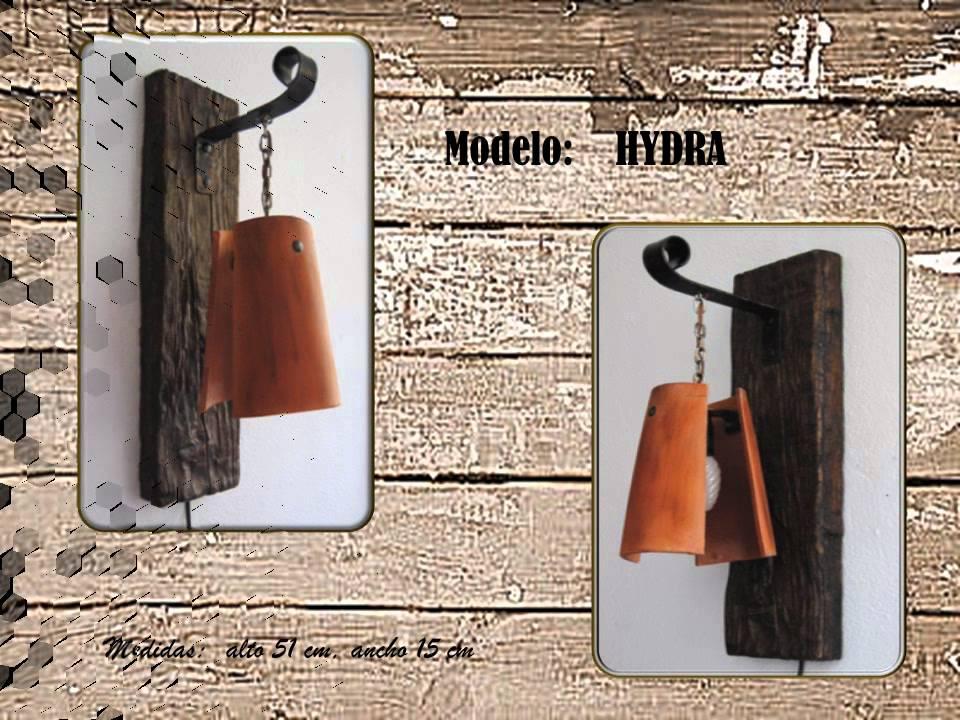 L mparas artesanales con tejas youtube - Apliques de pared rusticos ...