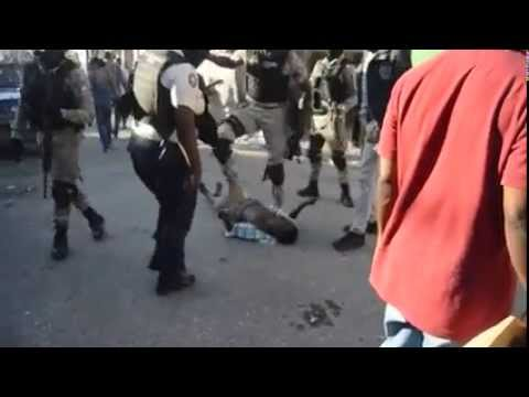 Shocking Video: Haiti Police on poor demonstrator after elections