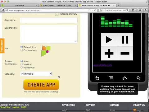 aplicacion android HTML5 gratis para una radio on line