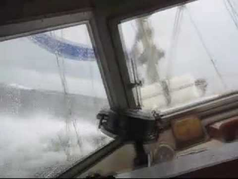 Yacht Isalei, a Hallberg Rassy Ketch, experiences heavy weather crossing ...