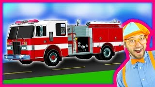 Blippi Fire Trucks for Children | Fire engines for kids and Fire Truck Tour