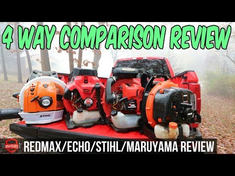4 Way Lawn Care Blower Comparison - Redmax 8500 vs Stihl BR 700 vs ECHO 770T vs Maruyama BL9000