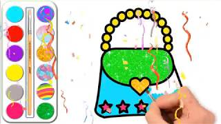 Glitter Heart Handbag coloring and drawing l Coloring pages for kids & Learn colors