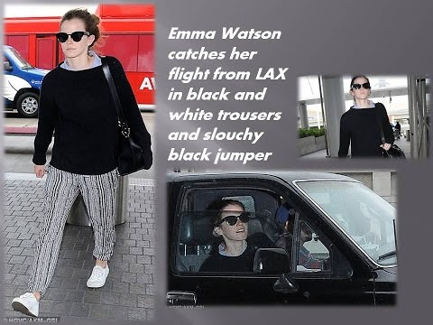 Emma Watson had no time to waste as she arrived at Los Angeles International Airport to catch her fl