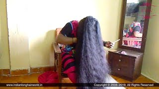 ILHW Calf Length Rapunzel Neelam's Front Hair Combing & Trying Tower Bun On Forehead & Bun Drop.