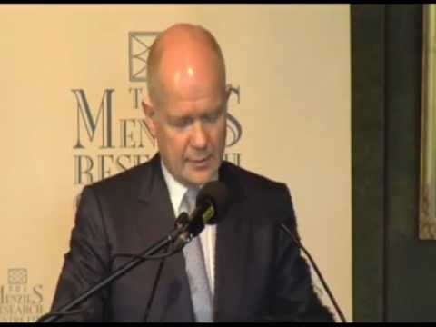 UK Foreign Secretary Rt Hon William Hague MP delivers the John Howard Lecture