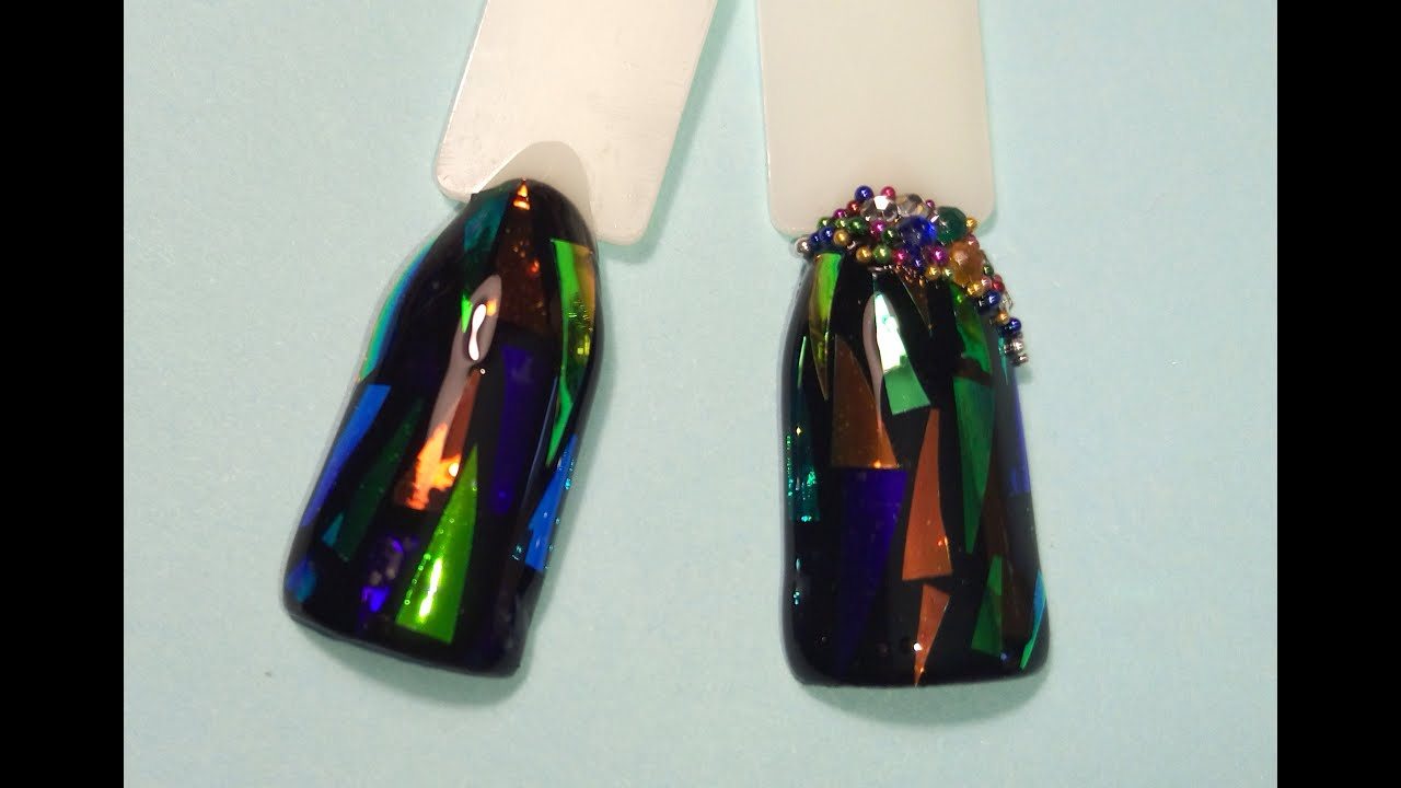 Фольга битое стекло на ногти фото