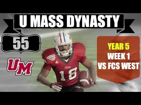 NCAA 13: U Mass Minutemen Dynasty - EP55 (Year 5, Week 1 Vs FCS West)