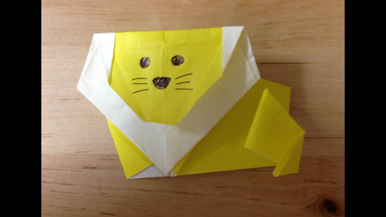 すべての折り紙 折り紙 ライオンの折り方 : 折り紙 ライオン 折り方 作り方 ...