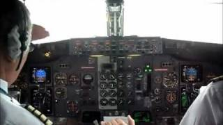 Takeoff Boeing 737-400, cockpit view