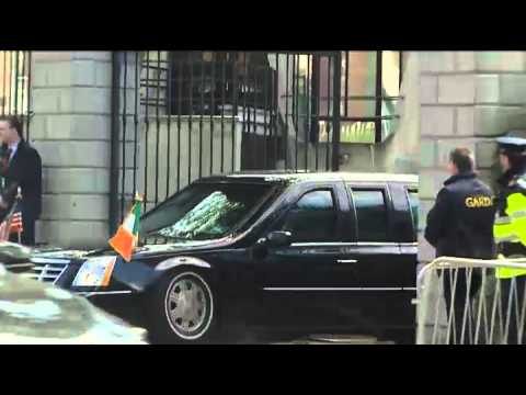 TV3 News footage of the bomb proof, bullet proof but not speed ramp proof car that is used to transport President Obama during his visit to Ireland Subscribe...