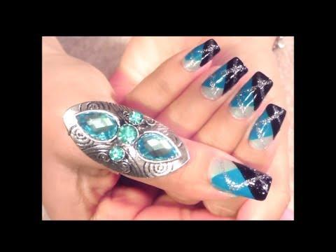 U as decoradas tutorial en tonos azul sencillas y rapidas - Unas azules decoradas ...