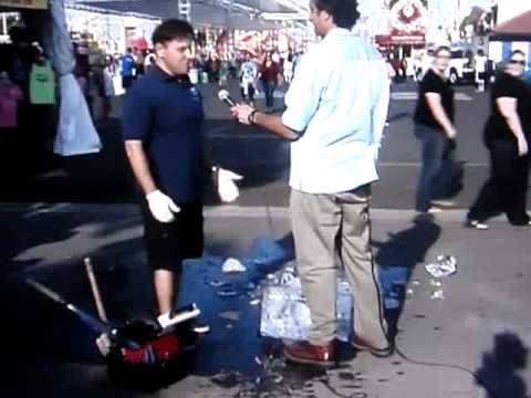 Reporter Accidentally Drops Ice Sculpture At O C Fair 2010