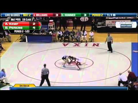 Warrensburg's #2 Arrington Kemp  vs.  Oak Park's # 1 Brad Perkins @ 120 lbs. State Championship Match