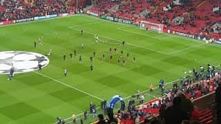 Starting 11 and subs warm up vs Porto at Anfield 06/03/2018