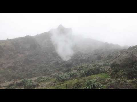 La Soufriere volcano crater in Guadeloupe