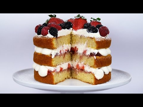 Light & Fluffy Victoria Sandwich (Sponge Cake) - Strawberries & Cream - ASMR - Treat Factory thumbnail