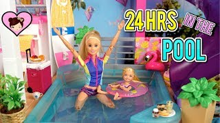 Barbie Doll 24 HOUR Challenge Overnight in her Swimming Pool - Dreamhouse Adventures