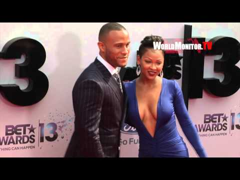 Meagan Good shows off Hot Cleavage and Sexy Curves arriving at BET Awards 2013