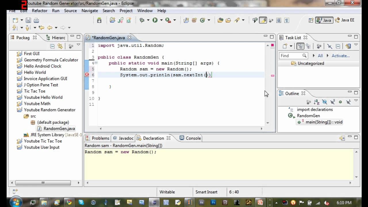 Java Tutorial 8 - Random Number Generator - YouTube