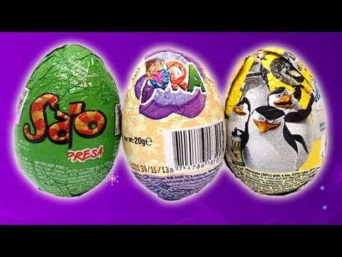 Dora The Explorer. The Penguins of Madagascar and Sapito Kinder Surprise Chocolate Eggs Unwrapping