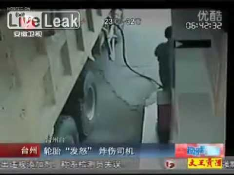 Truck driver hit by shock wave from exploding tire