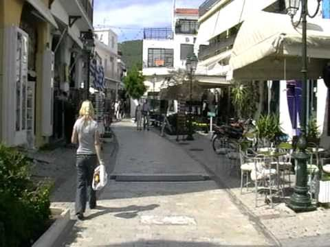 walking in Papadiamanti street, Skiathos Town , Skiathos, Greece