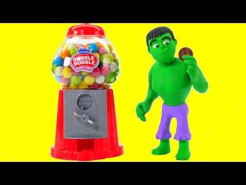 HULK & THE GUMBALL MACHINE ❤ Spiderman, Hulk & Frozen Play Doh Cartoons For Kids