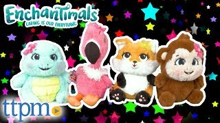 Enchantimals Flick Fox, Compass Monkey, Kiba Flamingo, & Bounder Turtle Plushes from Just Play