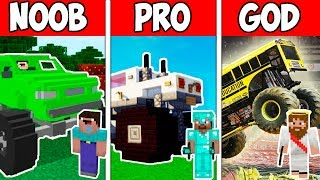 Minecraft NOOB vs PRO vs HACKER vs GOD : MONSTER TRUCK CHALLENGE in Minecraft ! AVM SHORTS Animation