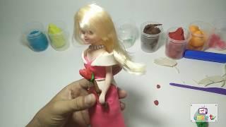 Dạy bé làm đồ chơi từ đất sét | Làm váy cho búp bê | Em Bé TV