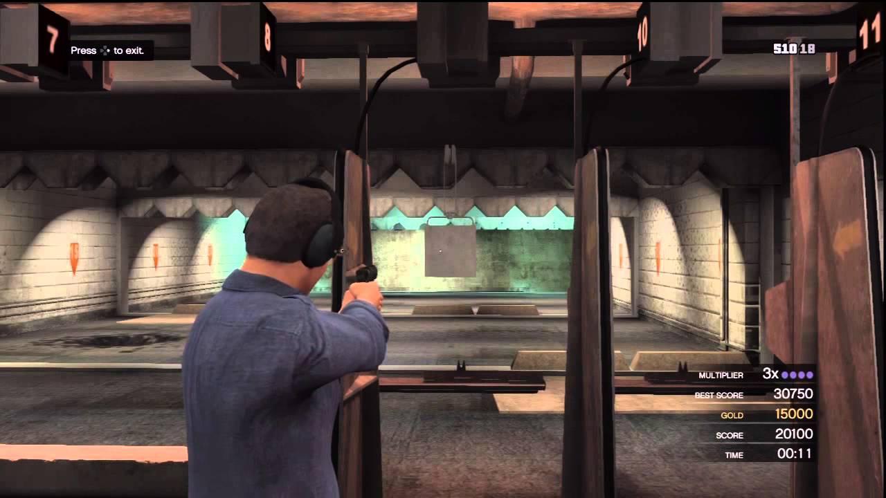 gta v shooting range pistol challenge 3 score 30900