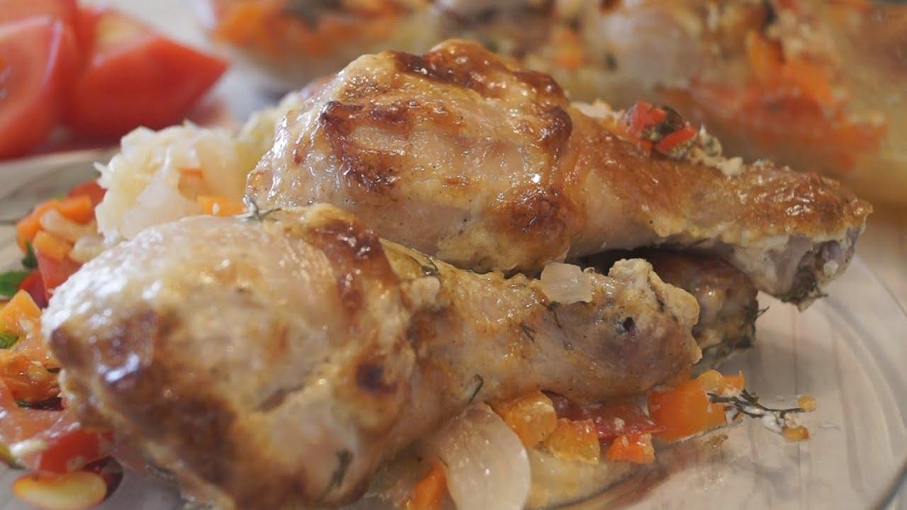 Рецепт курицы с овощами в рукаве