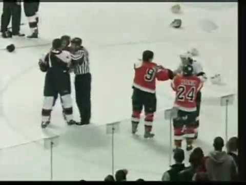 The Ultimate Fight/ Nobody wanted to be the one to not get kicked out. Ottawa Senators Vs. Phillidelphia Flyers. Classic.