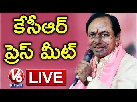 CM KCR Press Meet Live | Telangana Assembly Results 2018 | V6 News
